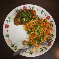 Home-made Gobi Manchurian and Hakka Noodles