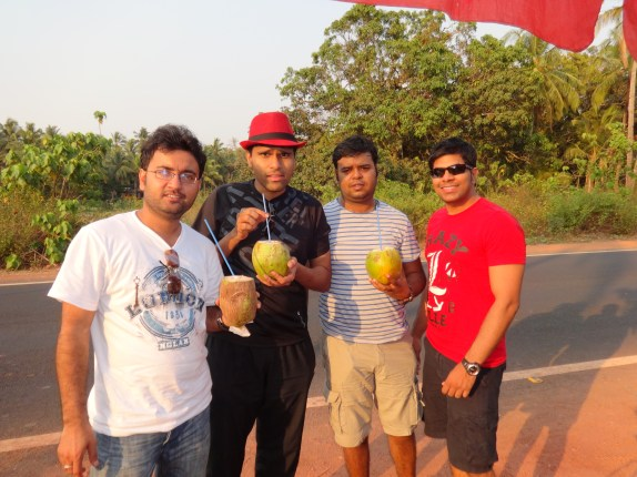 The gang having coconut milk on the way to North Goa from Palolem!