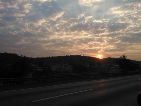 Beautiful sunrise on the Mumbai - Pune expressway