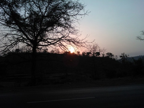 Sunrise on the Panaji Panvel highway somewhere in the ghats near Raigad!