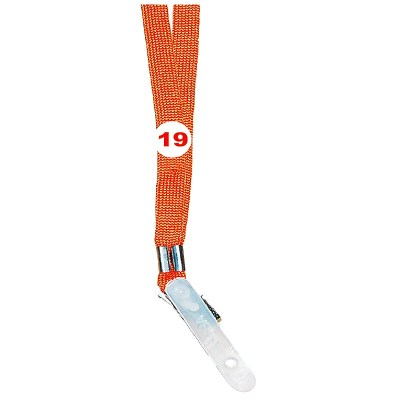 Orange Colour Sleeve Tags with Clip Attachement type. 16 Inches in Length and 12 mm wide. Printable with multiple colours with custom logo and names