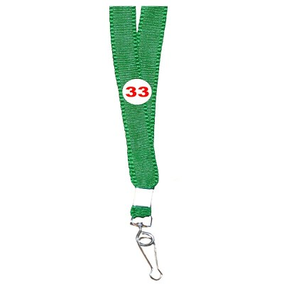 Parrot Green Colour Flat Tags with Hook Attachement type. 16 Inches in Length and 14 mm wide. Printable with multiple colours with custom logo and names