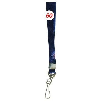 Navy Blue Colour Saturn Tags with Hook Attachement type. 16 Inches in Length and 12 mm wide. Printable with multiple colours with custom logo and names