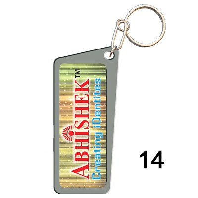 Grey key chain of size 25x55 mm in Rectangle  shape designed for id card holder, company event or school custom logo. Fully customizable and personalized with thousands of designs and prints  You may also refer keychains as ket tags, key rings, id card h