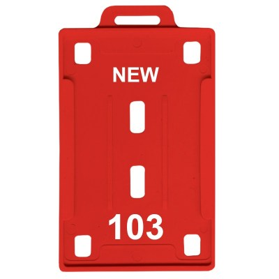 Insert Holder of size 54x86 mm in Red Colour and Vertical OrientationIt is ideal for business, schools and organization for all there ID card needs. Not only it protects the keep the id cards safe but also provides high branding value and personalization
