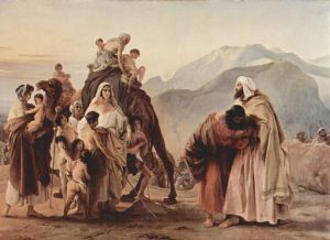 Jacob and Esau reconcile by Francesco Hayez
