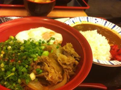 夕食のすき家(カレーとねぎ玉?牛丼)