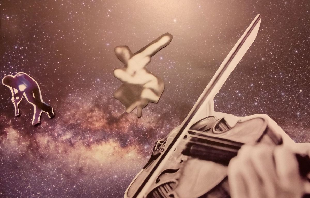 Image description: Pink-hued image of a galaxy with many stars and dust filaments. Overlaid with cut-outs of a person hunched over playing a wind instrument, a fuzzy photo of a dancer, and a close-up of hands playing a violin. Image from Science-Art Slam facebook page.