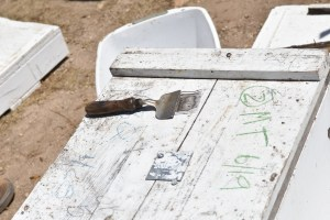 write on beed hive boxes with carpenter's chalk