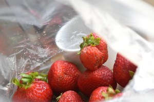 wash strawberries and pat dry