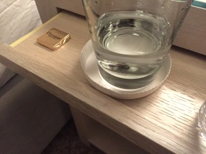 bed side chocolates and water..
