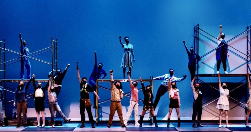 Abington High School Dfama Club performers dancing in Working A Musical