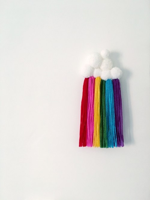 A Bird with a French Fry - Rainbow Pom Pom Wall Decor
