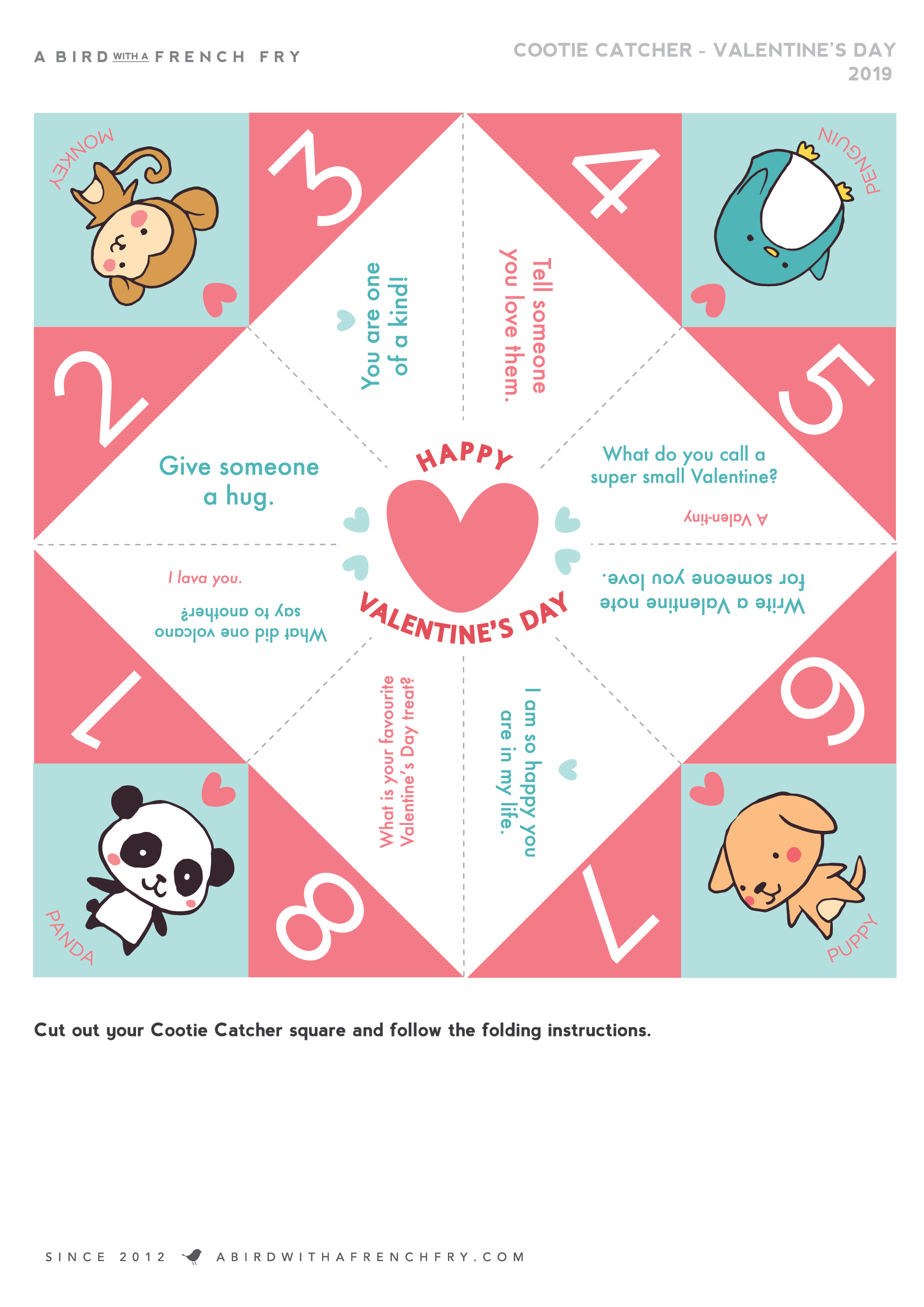 picture regarding Printable Cootie Catcher Template called Valentines Working day Cootie Catcher Cost-free Printable