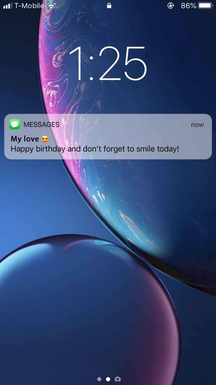 iPhone Notification Birthday