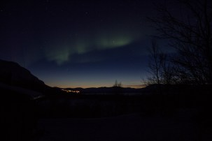 Nordlichter mit Abendhimmel