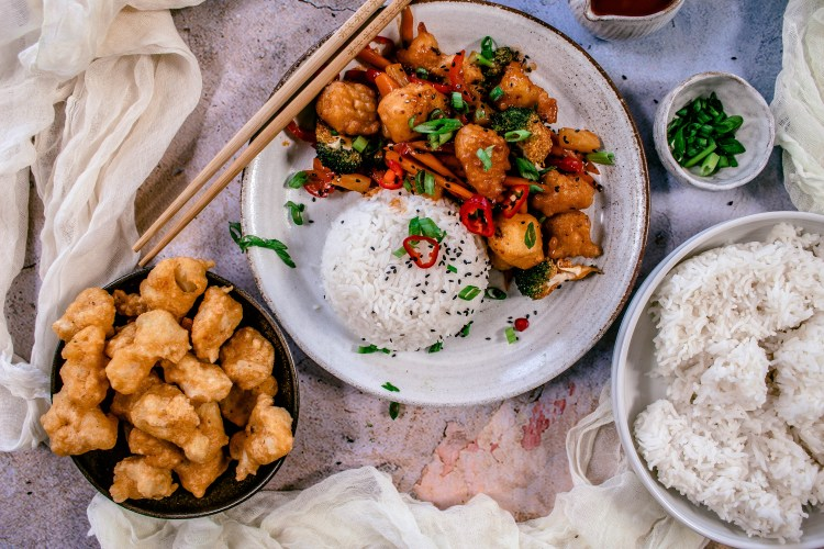 Flat lay photo of sweet and sour cauliflower and rice