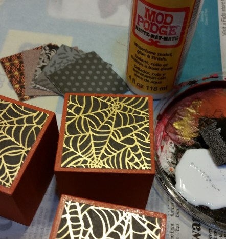 paint, then adhere paper with Mod Podge