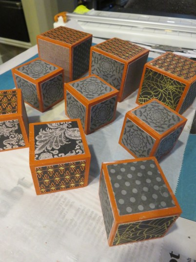 blocks drying after paper application