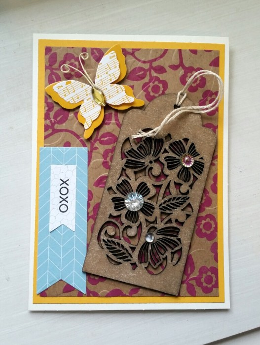A Bit Of Glue & Paper - handmade Mother's Day card, yellow butterfly embellishment, wooden floral tag, rhinestones, stamped with xoxo