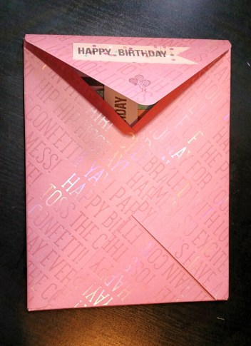 A Bit Of Glue & Paper - handmade envelope for girl birthday, pink paper with shiny birthday-related words