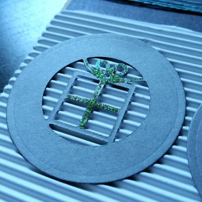 A Bit Of Glue & Paper - masculine birthday card, circle die cuts, green glitter glue ribbon on present, corrugated - Vancouver BC