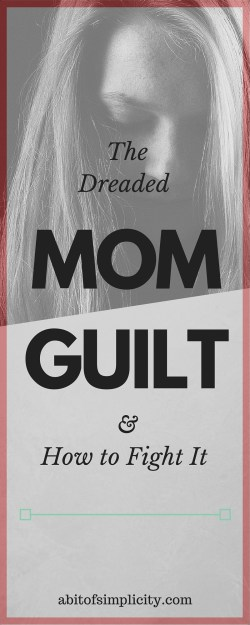 All mom's feel it and has been attacked by it many times: Mom Guilt. Here are a few ways to not let it consume your life.  www.abitofsimplicity.com