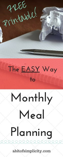 The simple way to plan out your meals for the month. Save time and money by using this method! Plus, a free meal planning printable! www.abitofsimplicity.com