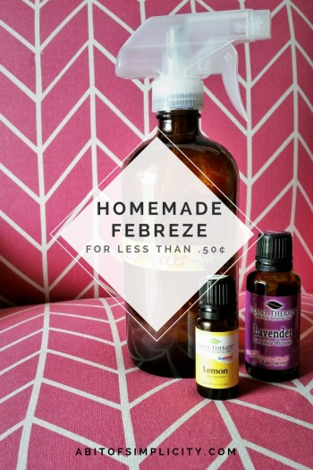 Stop wasting money on a bunch of chemicals to fill your air. Make a DIY all natural febreze, deodorizer with essential oils! www.abitofsimplicity.com