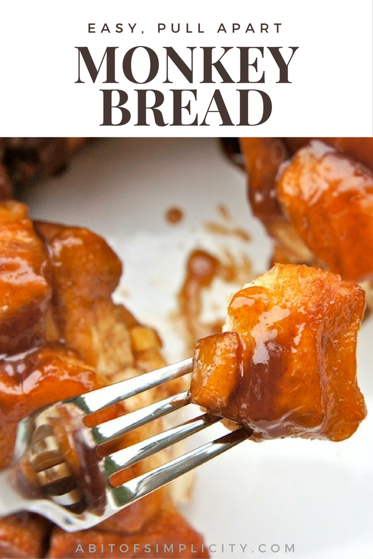 A simple and easy recipe to make for breakfast, or dinner. Pull apart monkey bread. 10 minute prep time, 30 minutes to cook! www.abitofsimplicity.com