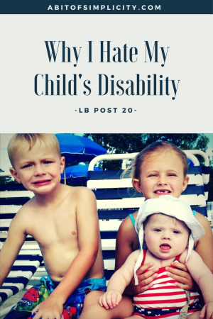 In the midst of adapting to her child's disability, LB's mom realizes that it is making her lose something she can never get back.  Down Syndrome www.abitofsimplicity.com