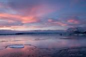 Sonnenuntergang am Jökulsárlón