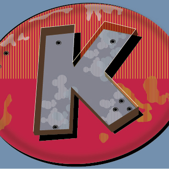 A letter K in the style of a vintage sign