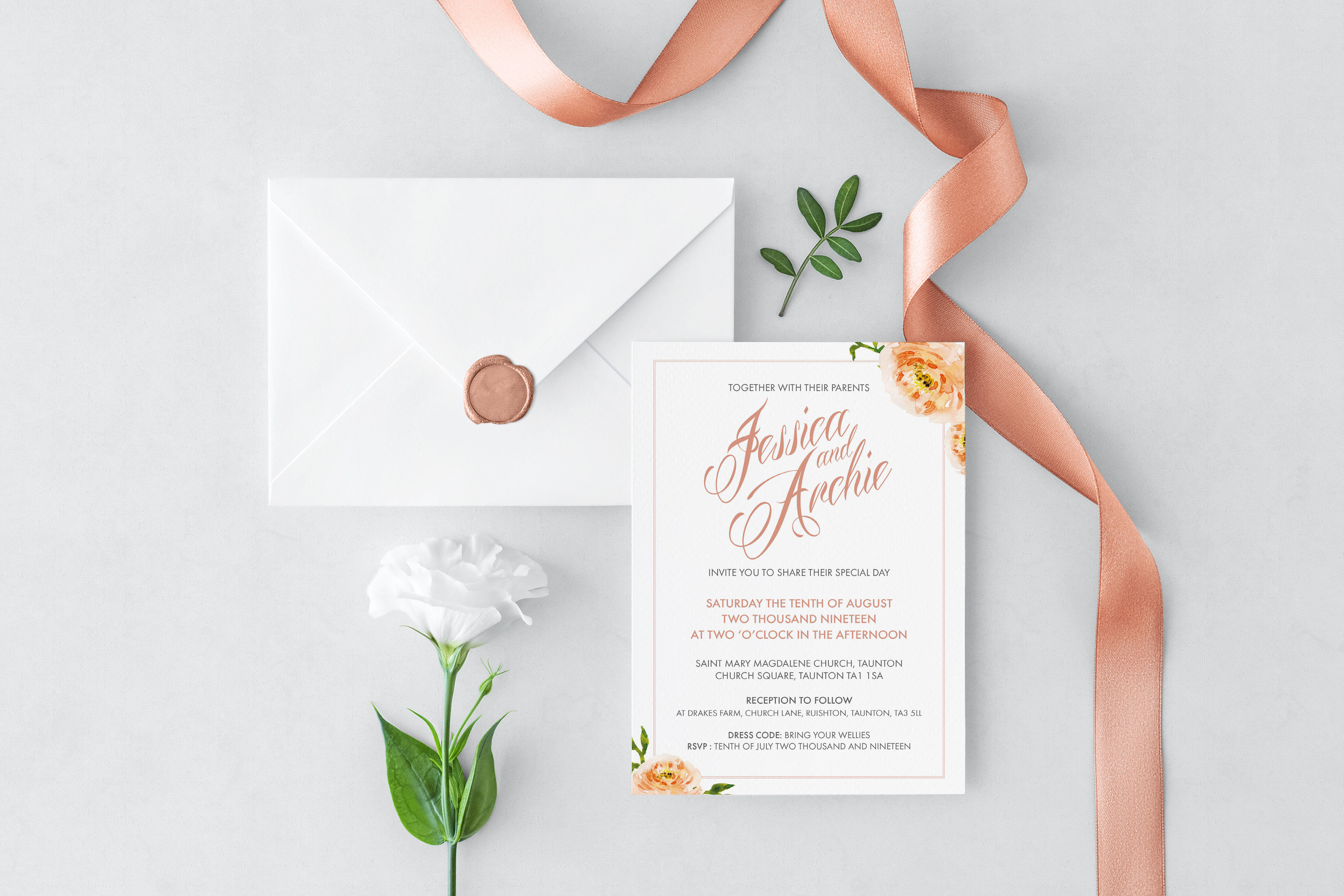 Just Peachy wedding stationery set