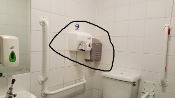Contortionist needed to get toilet paper and a bit awkward for hand drier also. The sink is well positioned