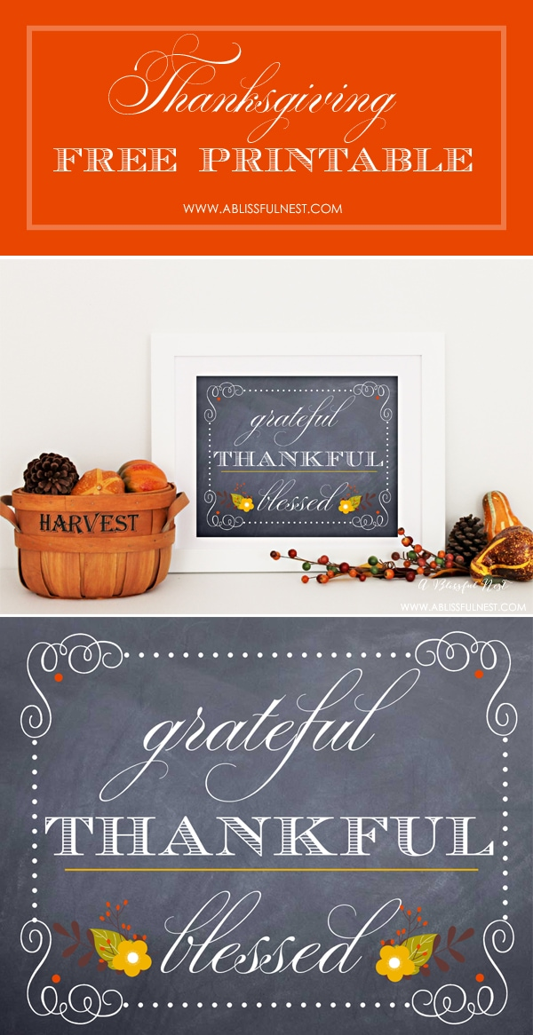 Thanksgiving Free Printable by A Blissful Nest