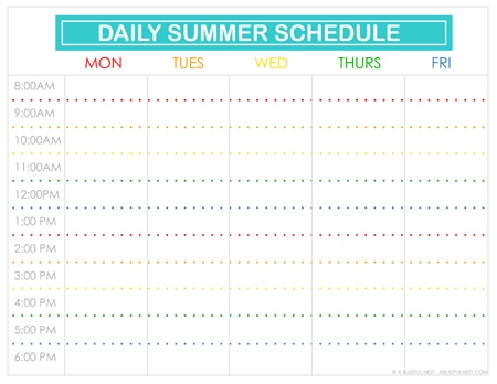 picture about Printable Schedule called Free of charge Printable Summer season Plan For Little ones
