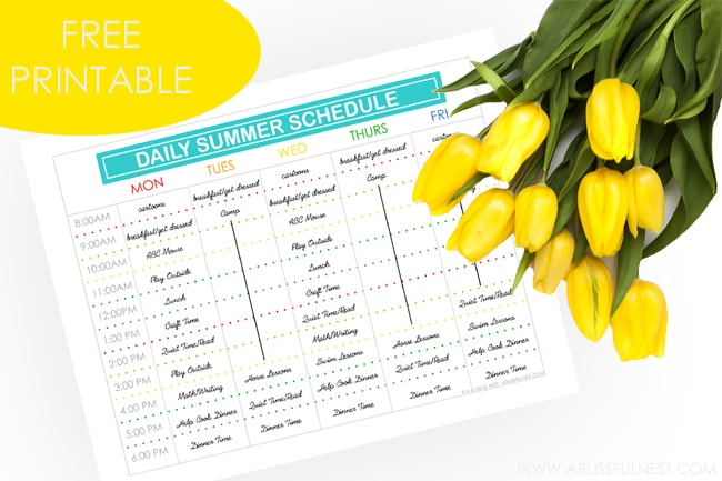 Free daily Summer Schedule Printable