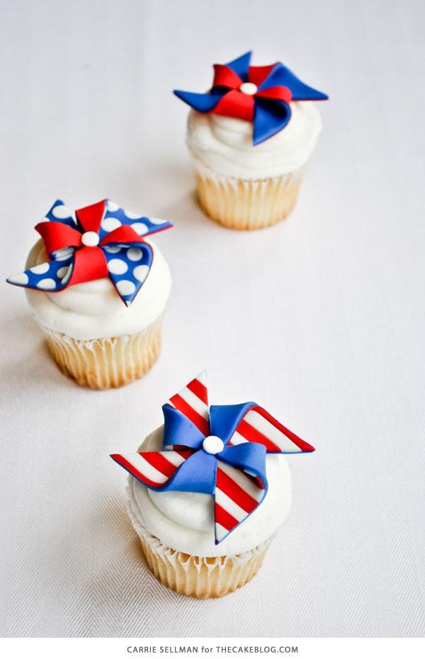 Patriotic Pinwheel Cupcake Toppers