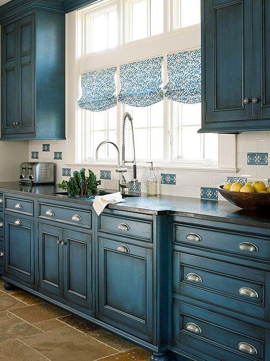 Gorgeous Blue and White Kitchen Inspiration via A Blissful Nest