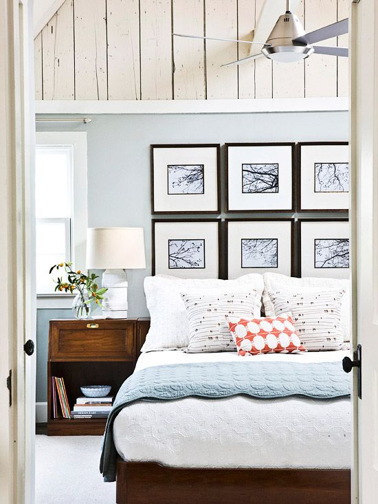 Make a gallery wall above your bed for a dramatic effect in your room. More ideas for decorating above the bed on A Blissful Nest. https://ablissfulnest.com/