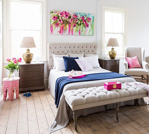 Choose a unique piece of art for above your bed for a dramatic effect in your room. More ideas for decorating above the bed on A Blissful Nest. https://ablissfulnest.com/