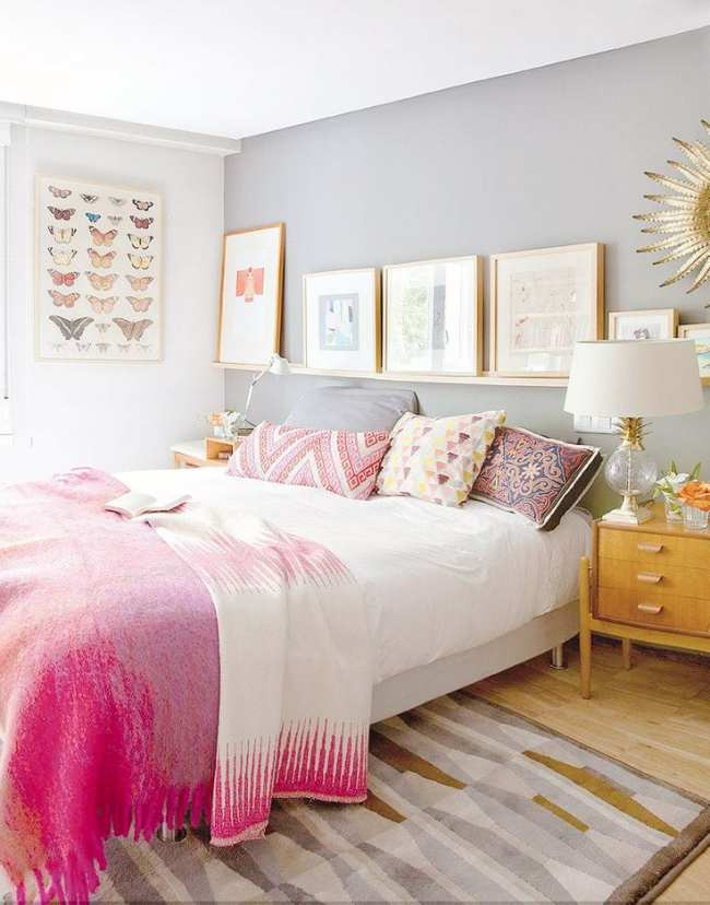 Use a shelf above a bed to create a focal point