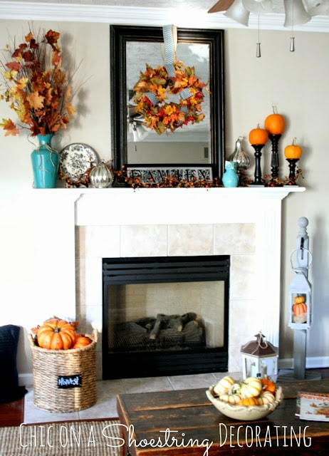 Chic on a Shoestring Decorating Fall Mantel