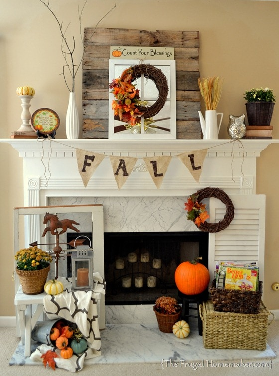 The Frugal Homemaker Fall Mantel