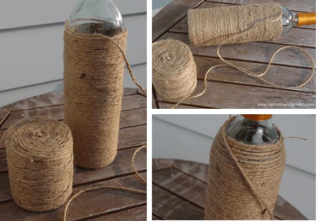 DIY Twine Wrapped Wine Bottle Tutorial