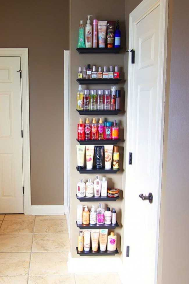 20 Bathroom Organization Ideas via A Blissful Nest, crown molding shelves for lotions and perfumes by Kevin and Amanda