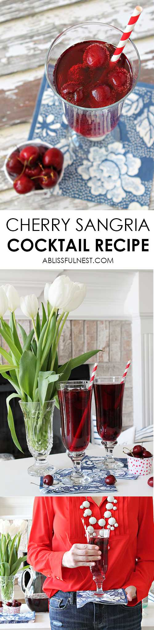 The most delicious and refreshing cherry sangria cocktail recipe! Perfect for your next dinner party with friends. Get the full recipe at ablissfulnest.com