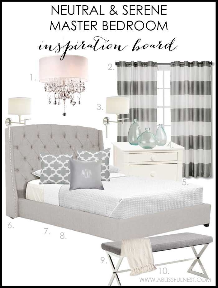 How to get the look of this neutral and serene master bedroom with shoppinf sources by A Blissful Nest.