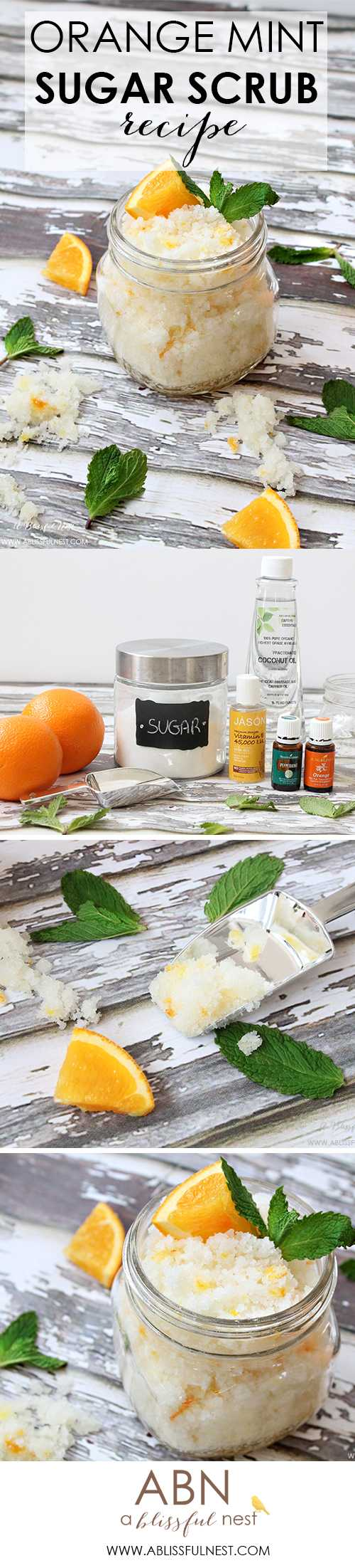 A simple recipe to make orange mint sugar scrub. Leaves your skin smooth and soft while exfoliating.